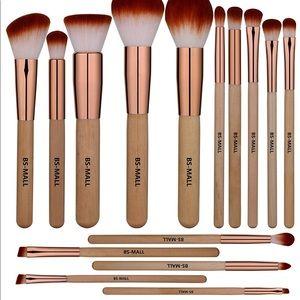 Wooden Eyeshadow Lip Foundation Makeup Brush Set